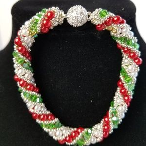 Handmade Christmas Crystal Colors Bracelet